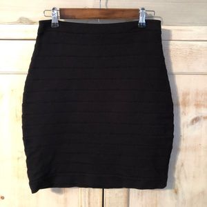 Express Black Soft Ribbed Mini Skirt